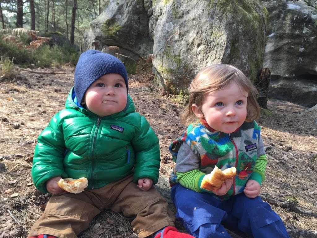 Theo and Fitz indulging on daily croissants