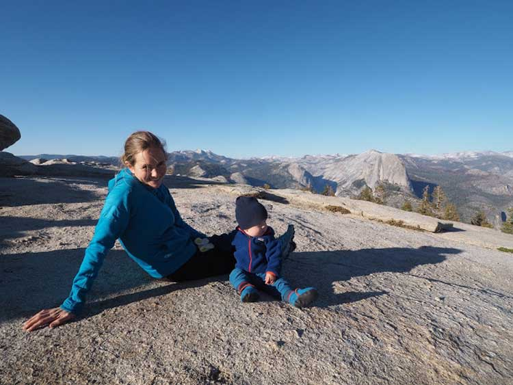 Hanging with Theo on top of Sentinel Dome in Yosemite.