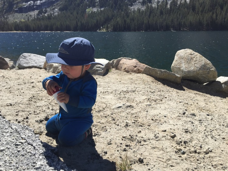 Theo using getting ready to lather up in Tuolumne.